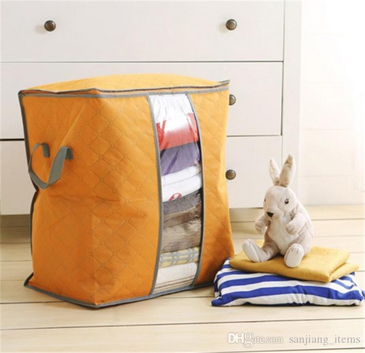 Grande borsa di immagazzinaggio non tessuta trapunta portatile pieghevole coperta di vestiti cuscino biancheria da letto sottoposta organizzatore scatola di stoccaggio di carbone di bambù borse OMG