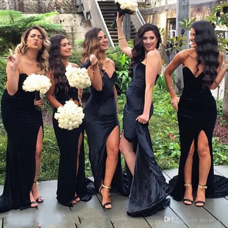 Sexy 2016 Black Velvet Sweetheart Mermaid Bridesmaid Dresses Long Cheap Side Split Long Maid Of Honor Gowns Plus Size Custom Made EN8253