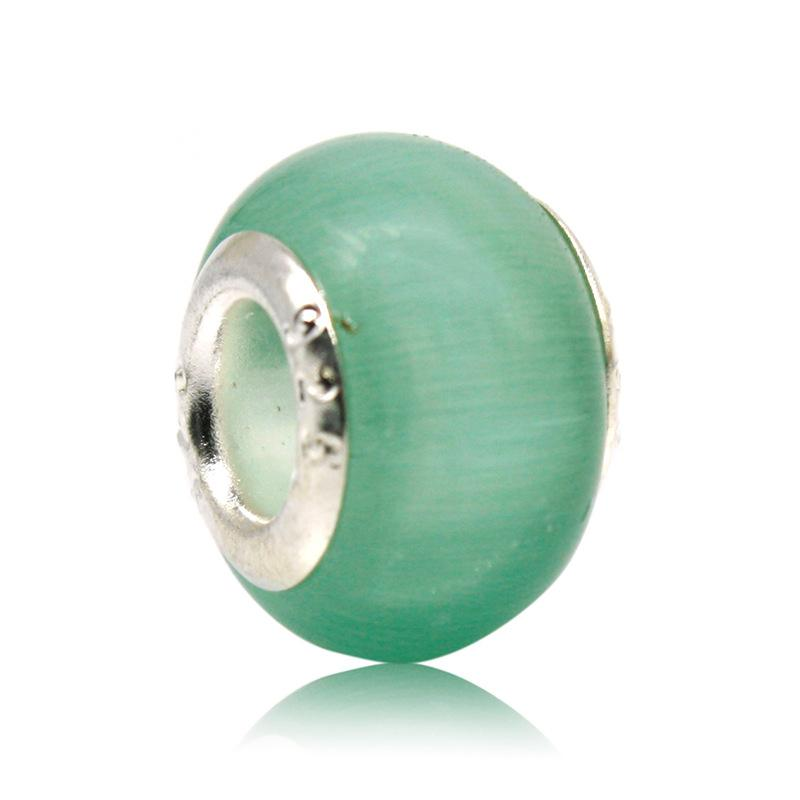 Opal Silver Glass Bead Natural Cat Eye Stone Europea Murano Spacer Bead Fit para pandora Silver Charm Bracelets