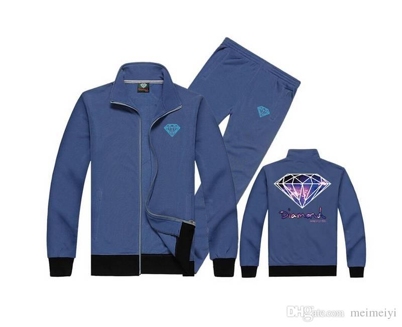 Diamond Supply sweat suit S-5XL Autumn Slim Hoodies Men Sweatshirt Long Sleeve Pullover Sportswear Male Patchwork Fleece