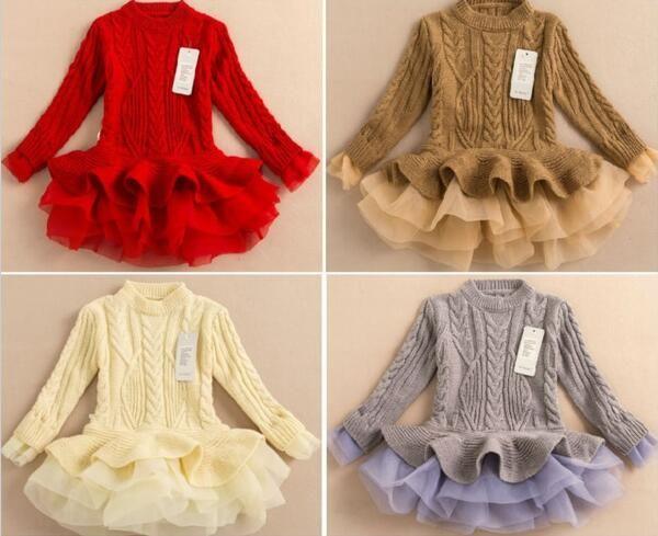 04b1721beea5 2016 Spring Autumn Kids Girls Knit Sweater Dresses Baby Girl Tulle ...
