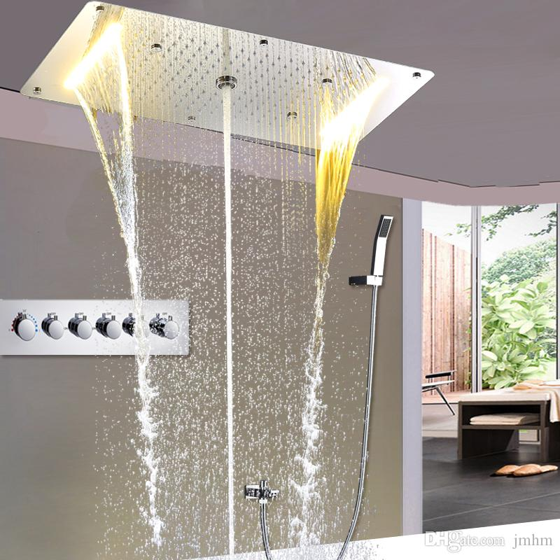 Euorpe Hot And Cold Large Rain Shower Set Concealed Ceiling Shower Head Faucets Waterfall, Water Column, Mist LED Shower
