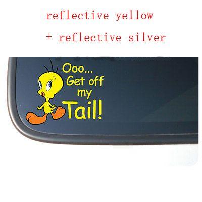 Tweety Bird GET OFF MY TAIL Vinyl Car Decal Sticker Reflective - Car window decal stickers online
