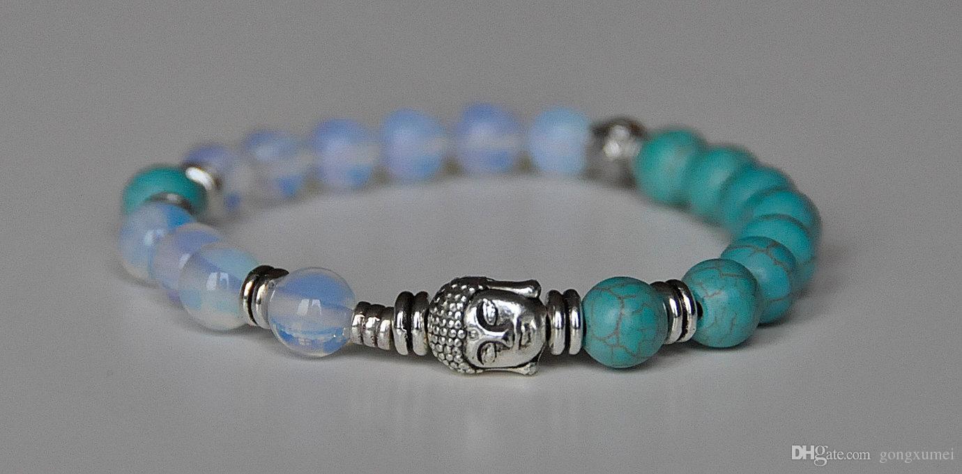 Buddha Pulseira, turquesa Opalite pulseira tibetano, confiança, pulseira de proteção, alívio do estresse, energia positiva, imaginação criatividade