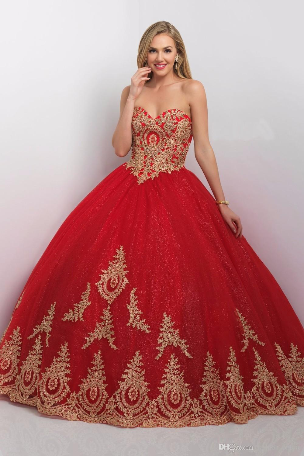 Princess Ball Gown Red Gold Quinceanera Dresses With Jacket New ...