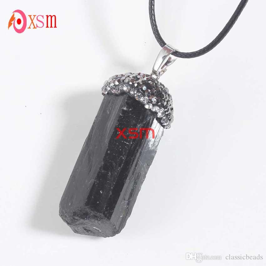 10P Natural Black Tourmaline Druzy Ore Gem Stone Healing Reiki Bead Pendant Raw Energy Chakra Natural Stone Pendants For Women