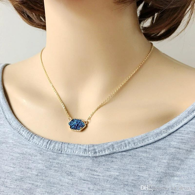 Hexagon Druzy Drusy Necklace Gold Plated Geometry Resin Stone Necklaces Best for Lady New York Brand Jewelry