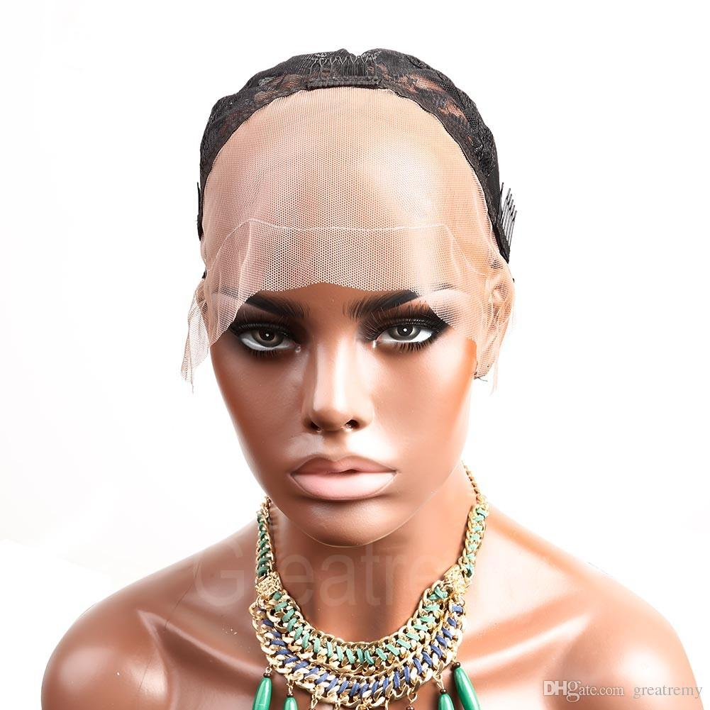 Great Remy Professional Lace Front Wig Caps for Making Wig with Adjustable Straps and Combs Swiss Lace Black Medium Size