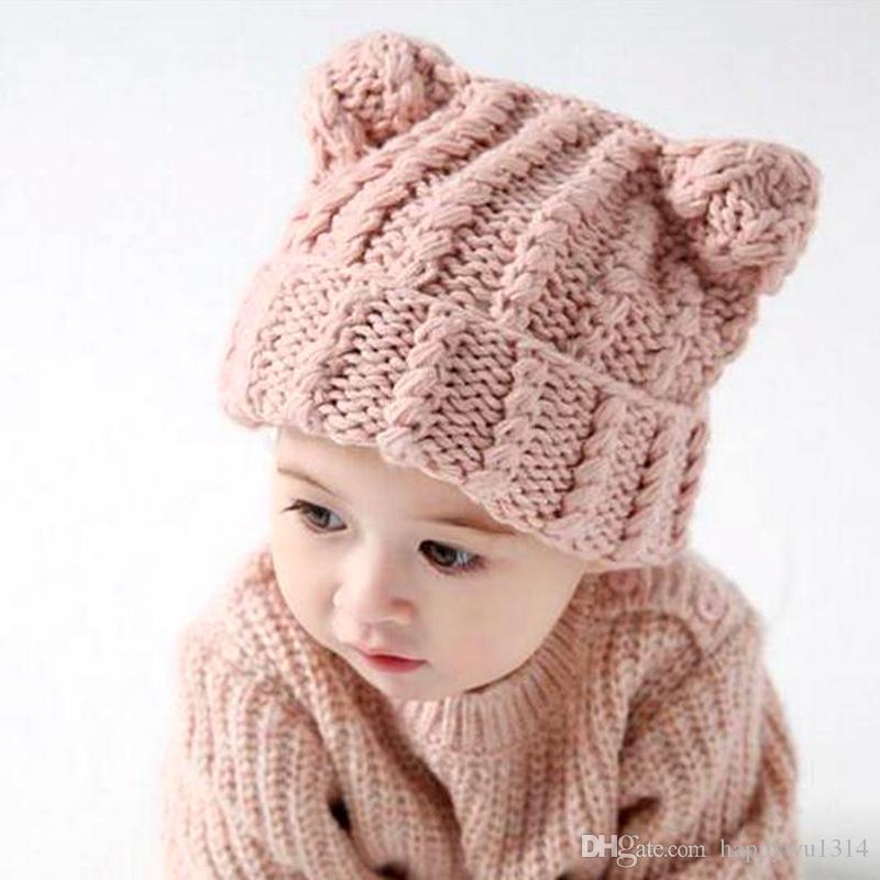 Großhandel Herbst Winter Baby Häkeln Baumwolle Hüte Entzückende ...