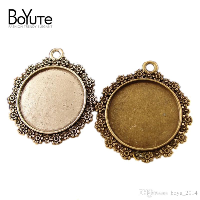 Round Cabochon Base 30mm Vintage Style Antique Bronze Silver Plated Blank Pendant Base Setting Jewelry Findings & Components