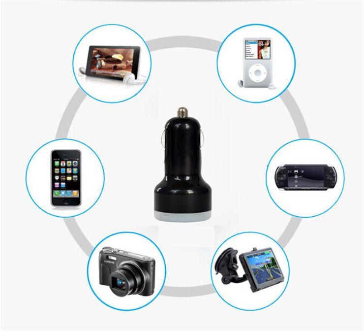 Caricatore universale auto USB doppio tutti gli apparecchi elettrici USB Adattatore 5V 2.1A 1A IPad IPhone6 Plus telefono cellulare