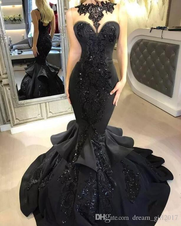 Stunning Black Mermaid Long Evening Dresses 2018 Sequins Appliqued Cascading Ruffled Illusion Back Formal Party Prom Gowns