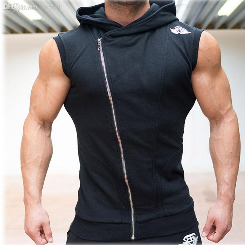 51f26fe719427d Acheter Gros Mens Gym Shark Hoodies Manches Bodybuilding Hooded Fitness  Vest Hoodie Sweatshirts Gym Tops Masculina Hombre Muscle Sportwear De   31.39 Du ...
