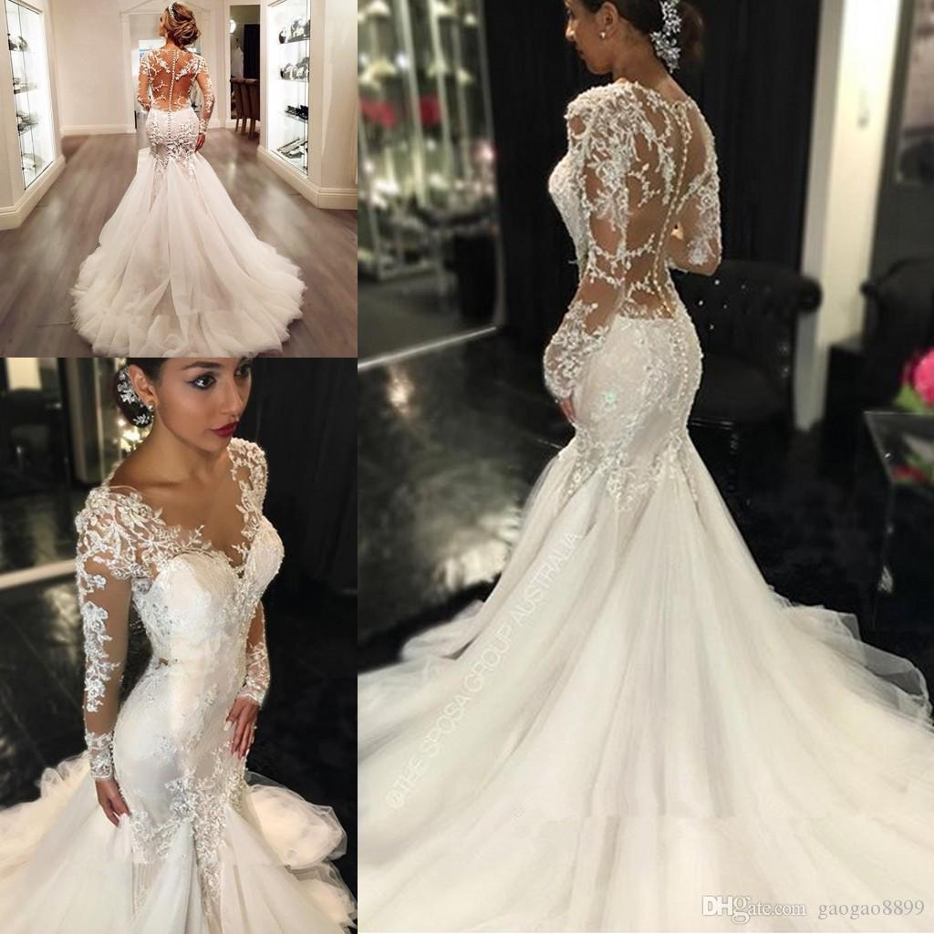 Berta Country Mermaid Wedding Dresses 2017 Sheer Long Lace Appliques Sleeves Trumpet See Through Back Vintage Vestidos De Novia Gown Dress Bridal: Blush Wedding Dresses Vintage Mermaid At Reisefeber.org