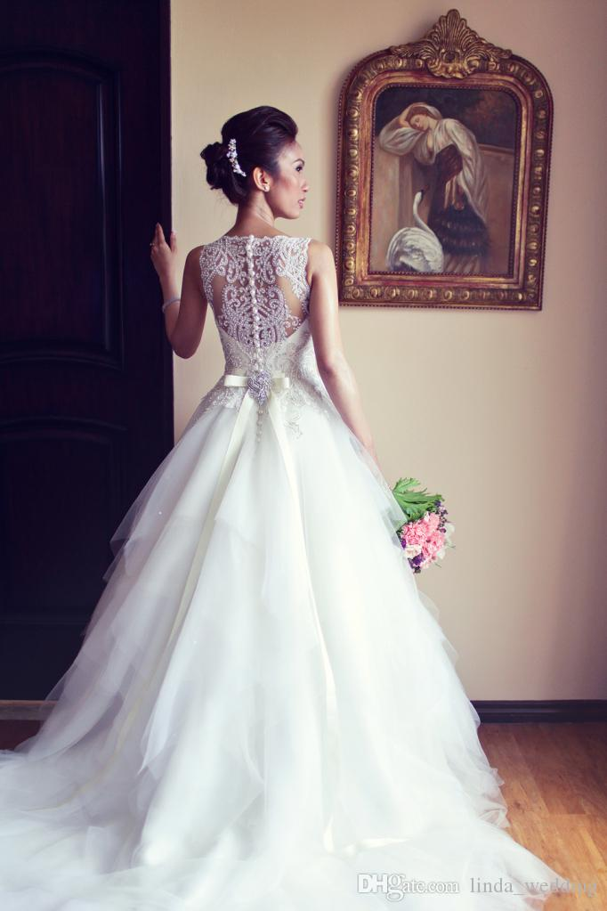2019 Designer Princess Wedding Dresses Vintage Real Sample Ball Gown Beading Tulle Long Dream Formal Bridal Party Gowns