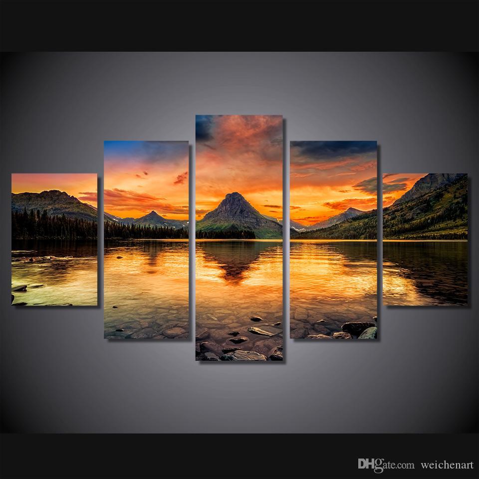 / Set Sem Framed HD Impresso cenário medicina lago glaciar tela de pintura imagem sala de impressão decoração cartaz Impressão em tela Frete grátis