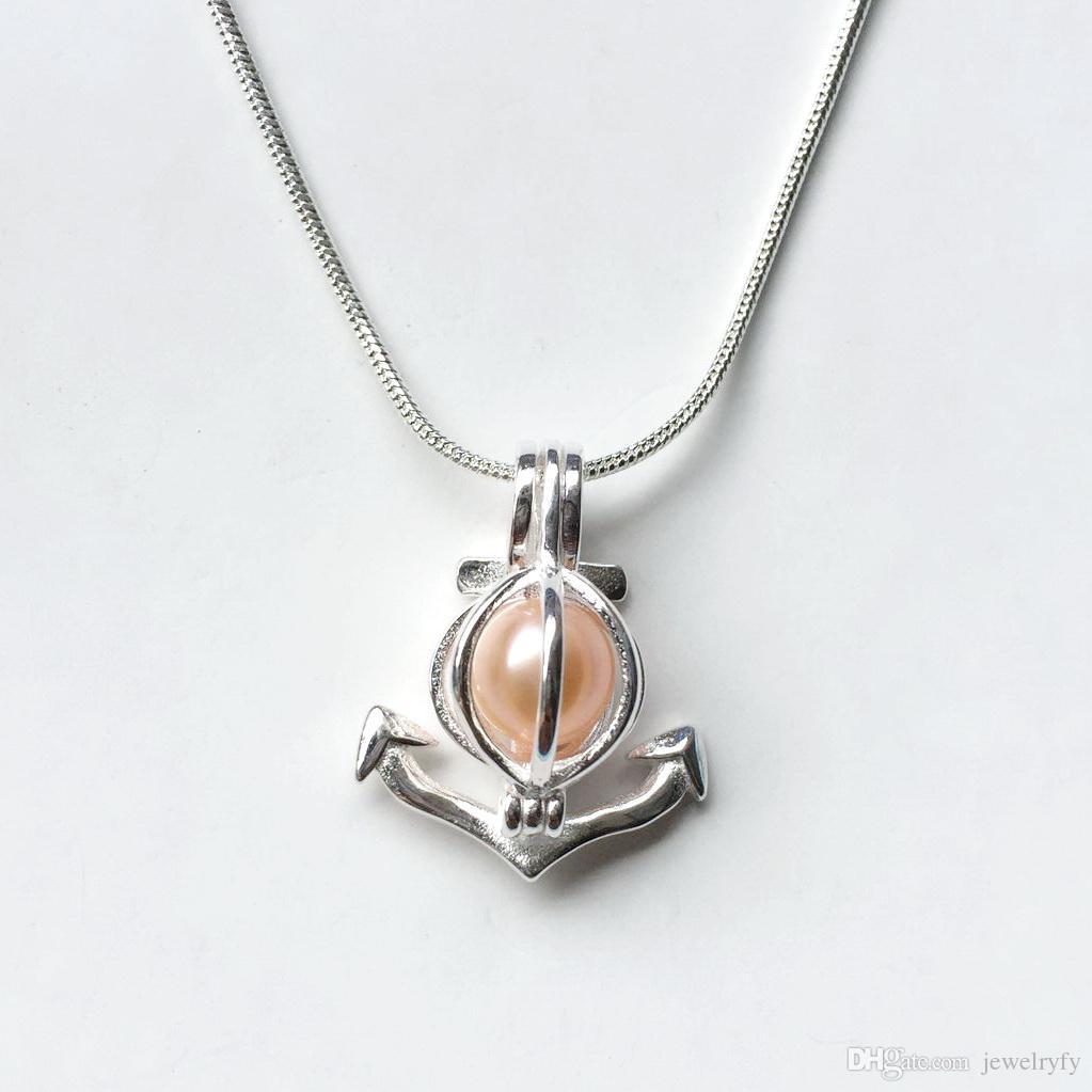 Anchor Pendant Pendant Pendant, 925 Sterling Silver Locket Cage Pendant, può aprire e tenere 8,5 millimetri perline Charms fare gioielli fai da te