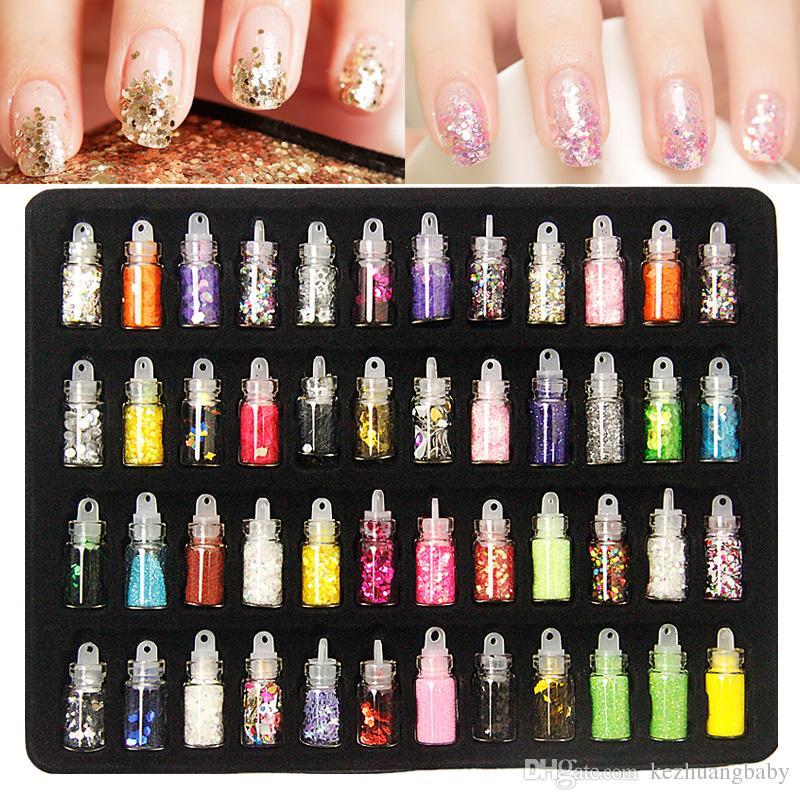 48 Bottles Nail Art Charms Kit Contain Random Nail Art Pearl/Sequin ...