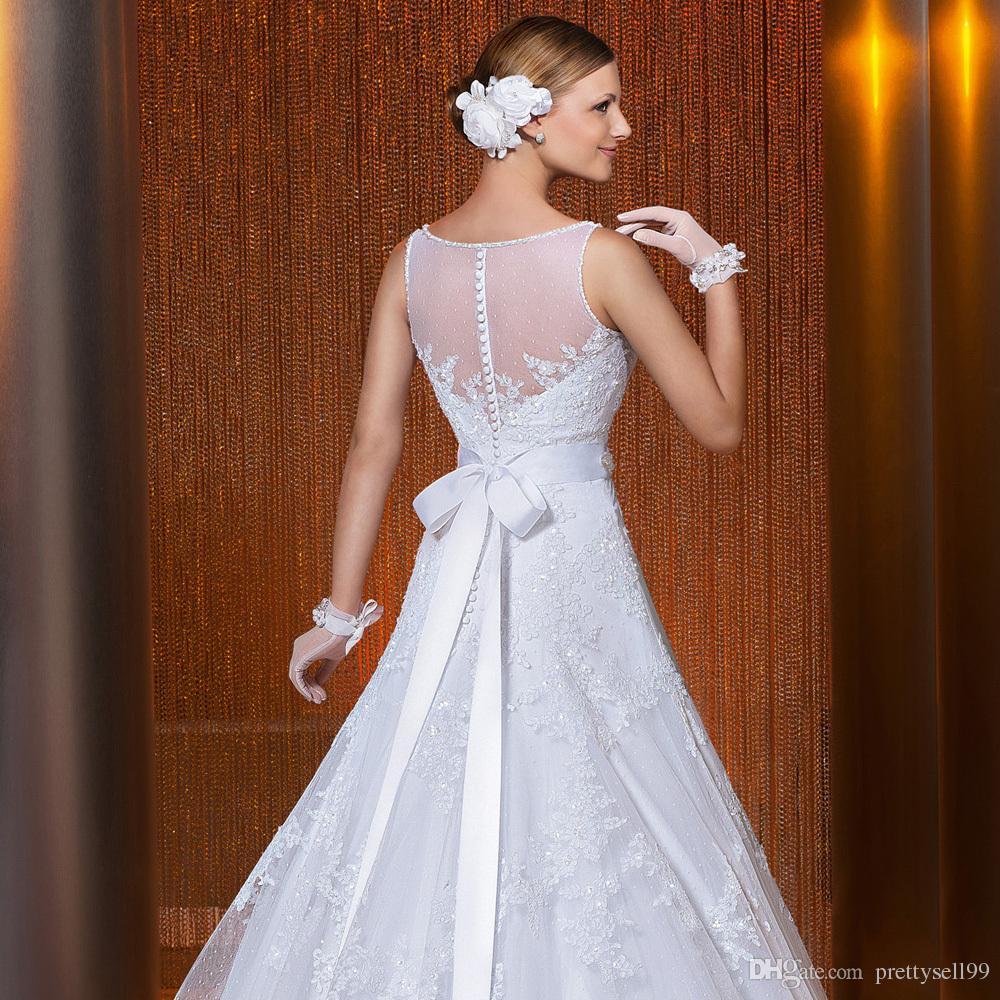 Nouvelle arrivée Vintage Lace A-ligne Appliques robes de mariée 2018 avec perles Sash encolure dégagée mariage Robes de mariée