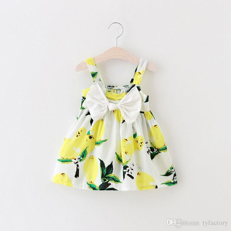 hot Baby Girls Summer Dress fashion sweet girl suspender Clothes Kids Strap Bowknot Lemon Floral Dresses kawayi girl's princess Sundress top
