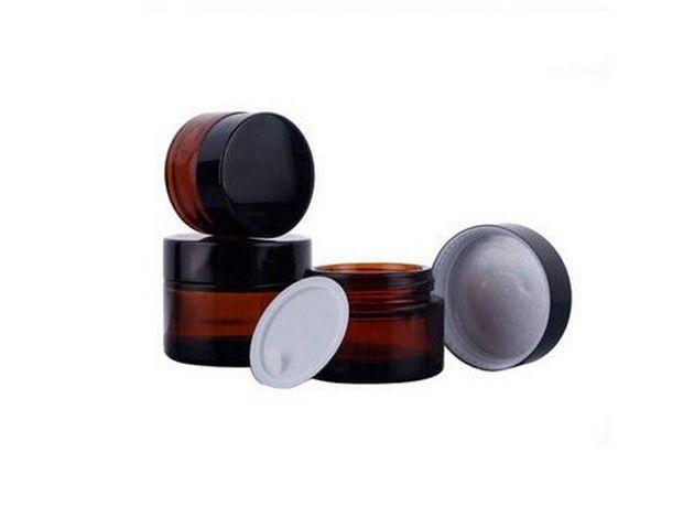 Fabrika Fiyat Krem şişe, 20g Amber Cam Boş Doldurulabilir Kozmetik Krem Kavanoz Pot Şişe Konteyner DHL Tarafından 100 Adet / grup Ücretsiz ...