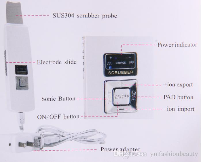 초음파 피부 스크러버 페이스 스파 초음파 이온 도입 영양 여드름 여드름 제거 스킨 케어 뷰티 머신 충전식