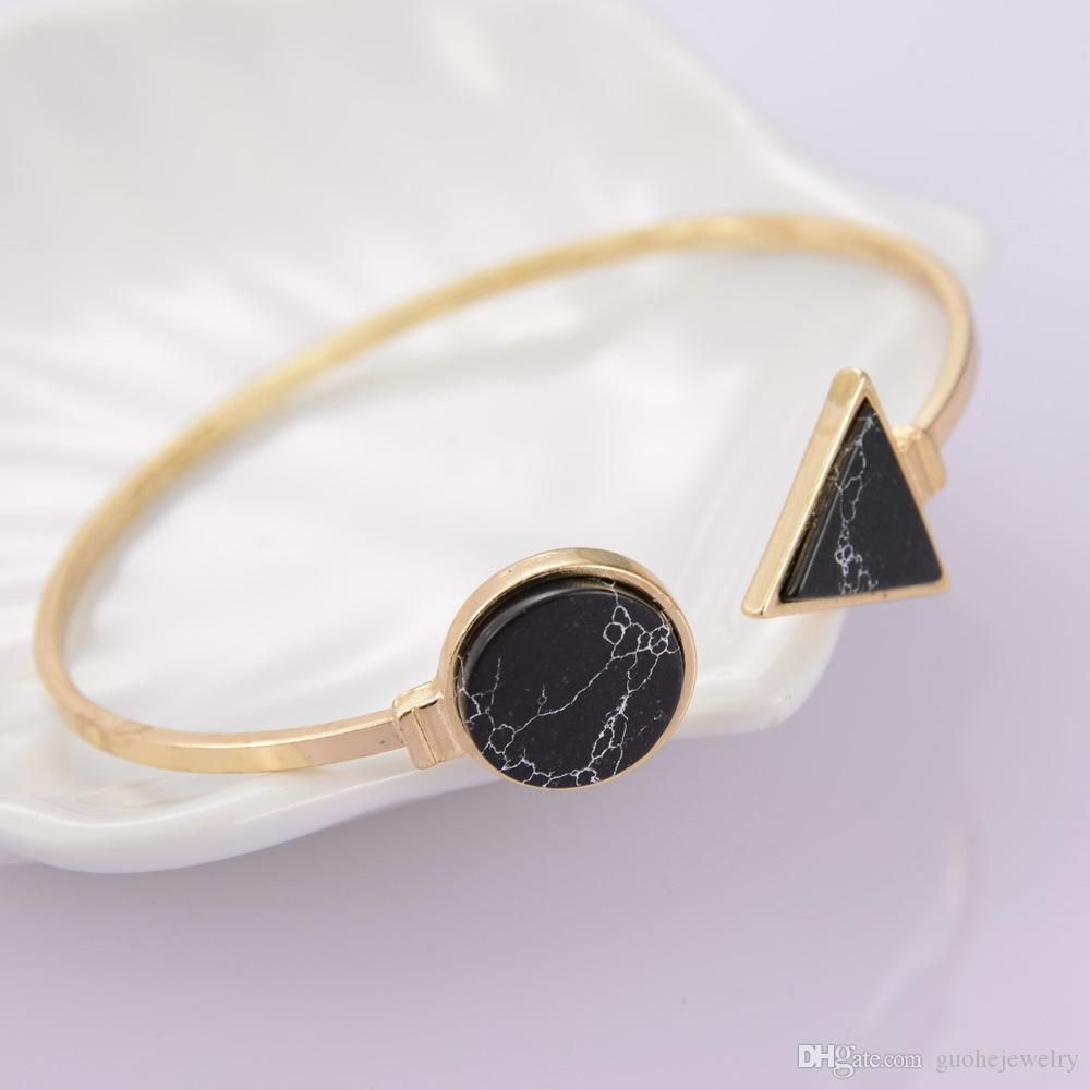 Vintage Turquoise cuff bangles jewelry round triangle bracelets for women gold plated bracelets pave