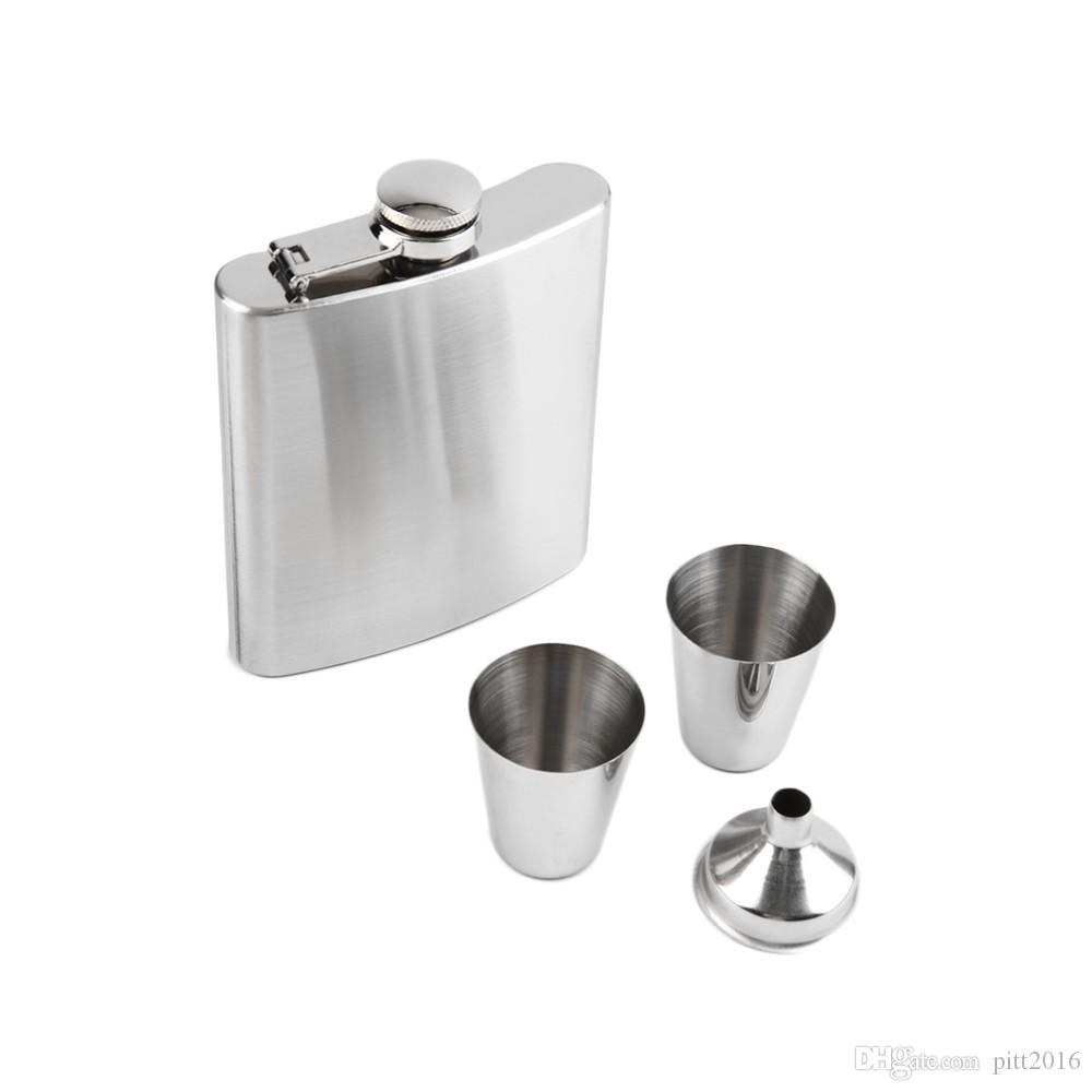7 oz de acero inoxidable Hip Flask Sets jack Flagon con embudo copas de vino Whiskey Hip Flask Botella de la botella portátil Caja de regalo Embalaje