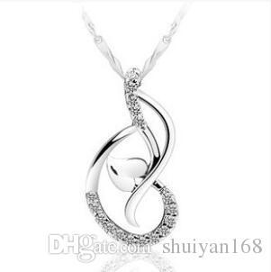 Penhor de dança de amor branco banhado a ouro 925 colar de prata esterlina pingente de pingente jóias sem corrente