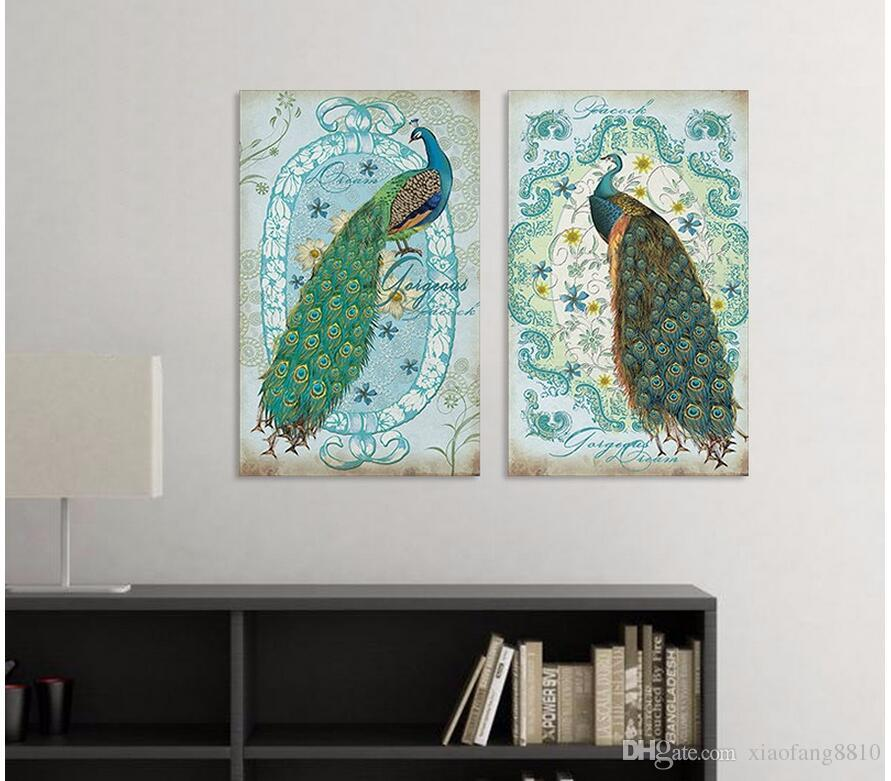 Modern Animal Peacock canvas painting children living room kids decoration peahen wall art pictures home decor unframed