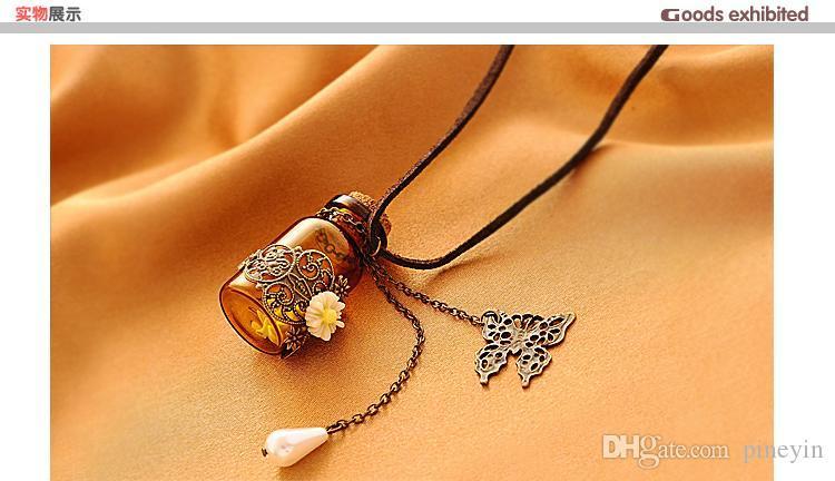 Bouteille en verre Aromatherapy Huile essentielle Diffuseur collier médaillon pendentif bijoux avec 24