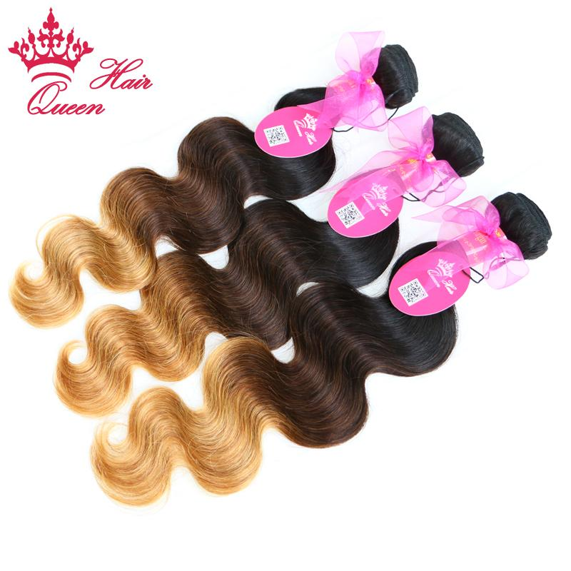 Queen Hair Products Brazilian Ombre Hair Extensions Virgin Hair Body Wave 3Tone color #1B/#4/27 DHL