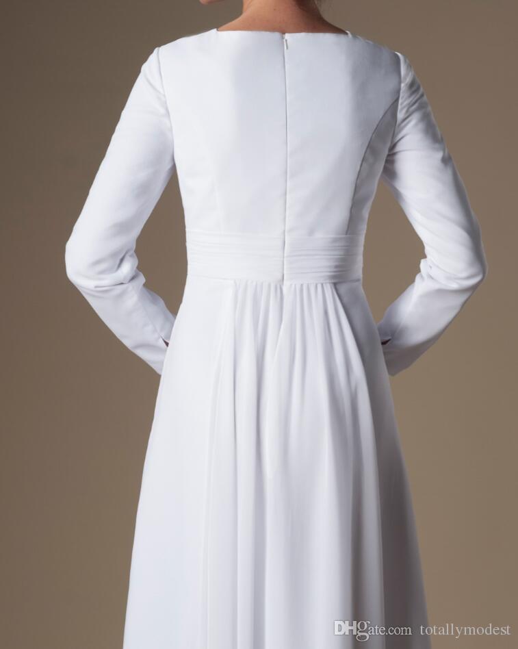 Простой белый шифон храм с длинными рукавами свадебные платья рукава a-line длина пола неформальный прием свадебные платья репетиция ужин платье