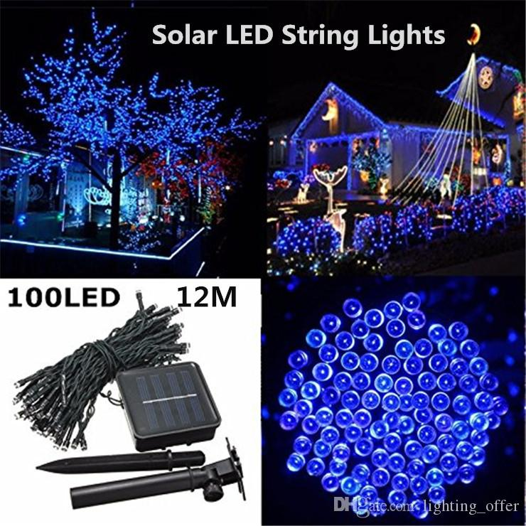 2017 hot sale outdoor led christmas lights 100led 12m color led solar string lead fairy lights for holiday garden christmas wed home decoration from - Led Christmas Lights On Sale