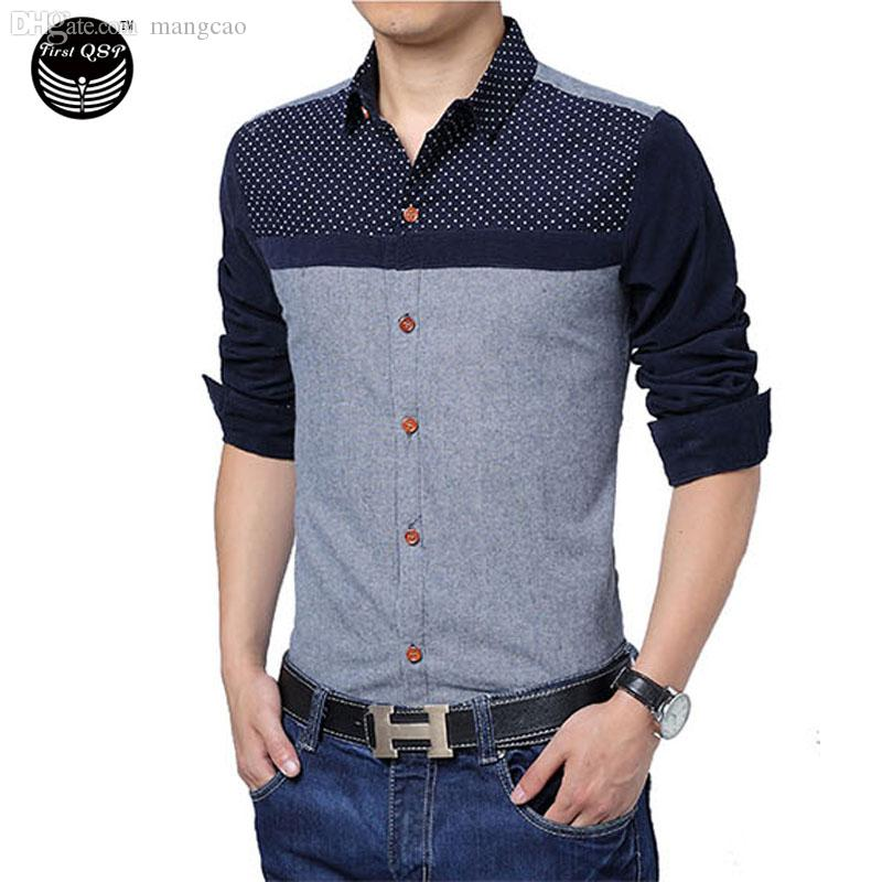 2017da96f94 2019 Wholesale Brand 2016 Men'S Fashion Chemise Homme Polka Dot Stitching  Pocket Chemise Large Size Homme Men Shirt Leisure Camisa Masculina From  Mangcao, ...