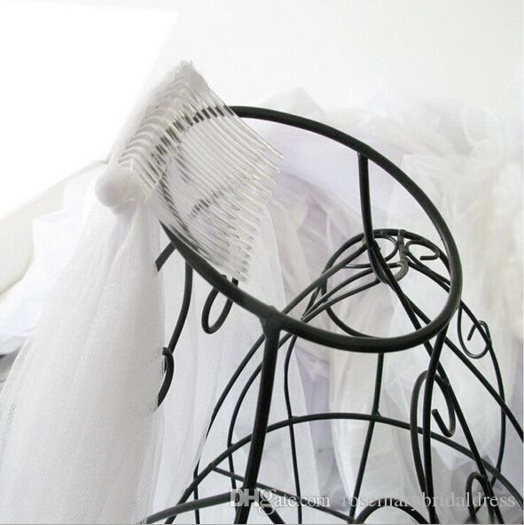 Cheap Veils Real Image In Stock 1 Layer long White tulle Comb Veils For Wedding Dresses Party Gowns Bridal Accessories Z125
