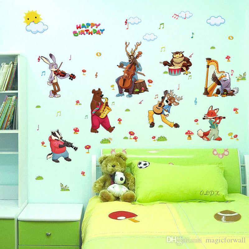 Cartoon Animals Concert Wall Stickers for Kids Room Happy Birthday Wall Quote Decor Rabbit Bears Wolf Elk Owls The Animals Wall Mural Poster