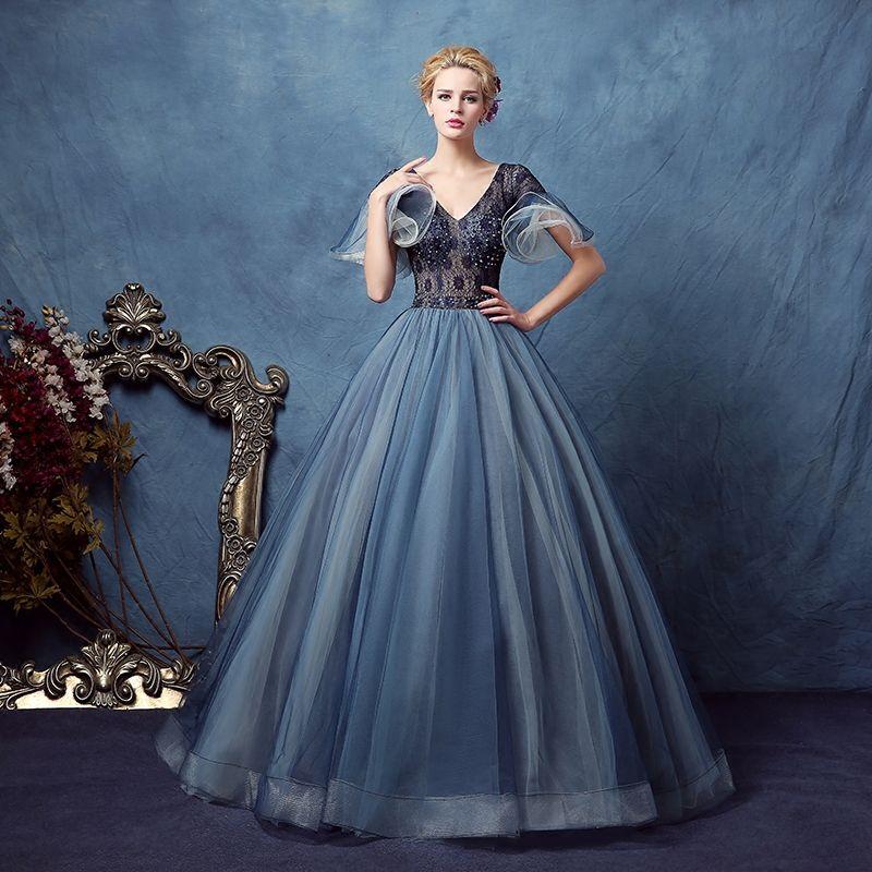 447408e530c curve sleeve lace dark blue beading veil court ball gown medieval dress  Renaissance Victoria/Antoinette/ Belle Ball