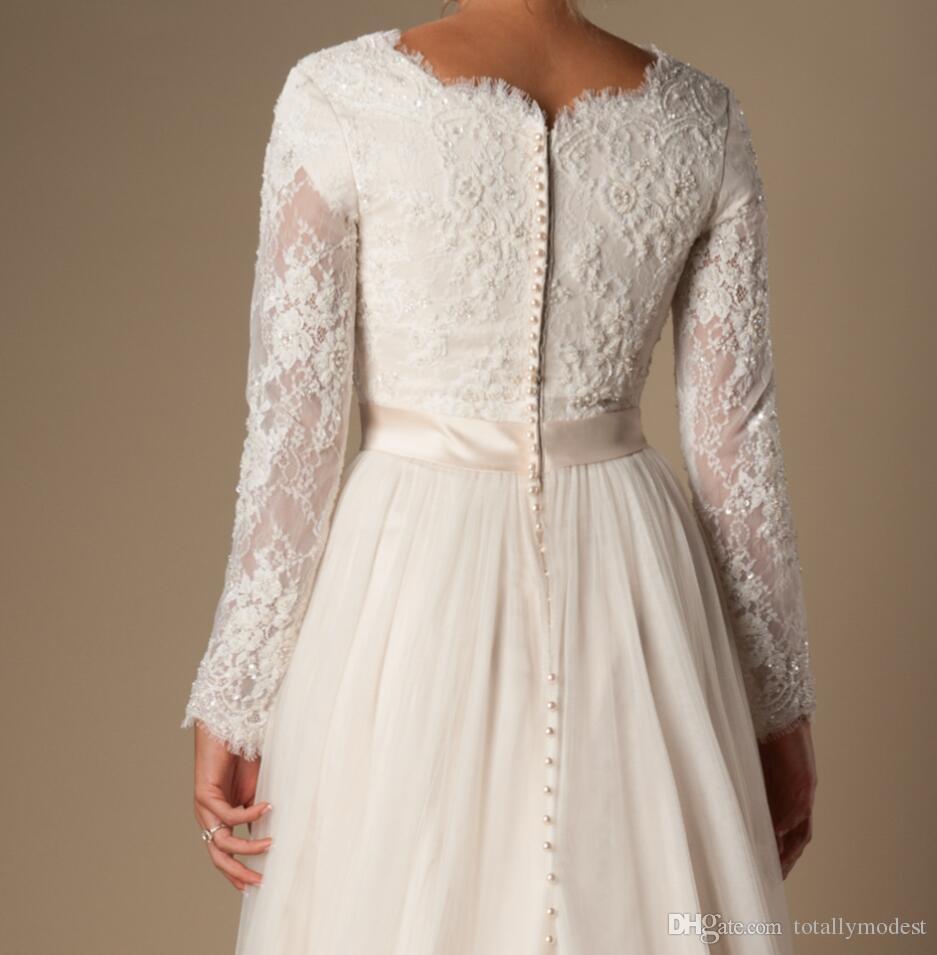Elfenbein A-Line Perlen Spitze Tüll bescheidene Brautkleider mit langen Ärmeln Gemischte Nackenknöpfe auf dem hinteren Sehleuten Lange Brautkleider bescheiden