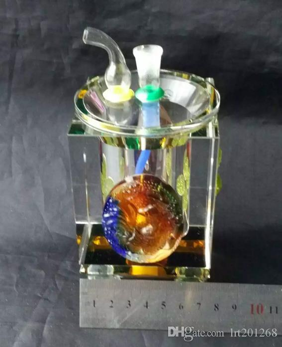 Colored thick crystal bongs --glass hookah smoking pipe Glass gongs - oil rigs glass bongs glass hookah smoking pipe - vap- vaporizer