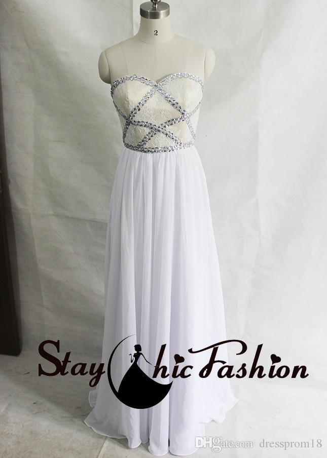 Crisscross Beaded Lace Top Nude White Long Prom Evening Dresses 2016 ...