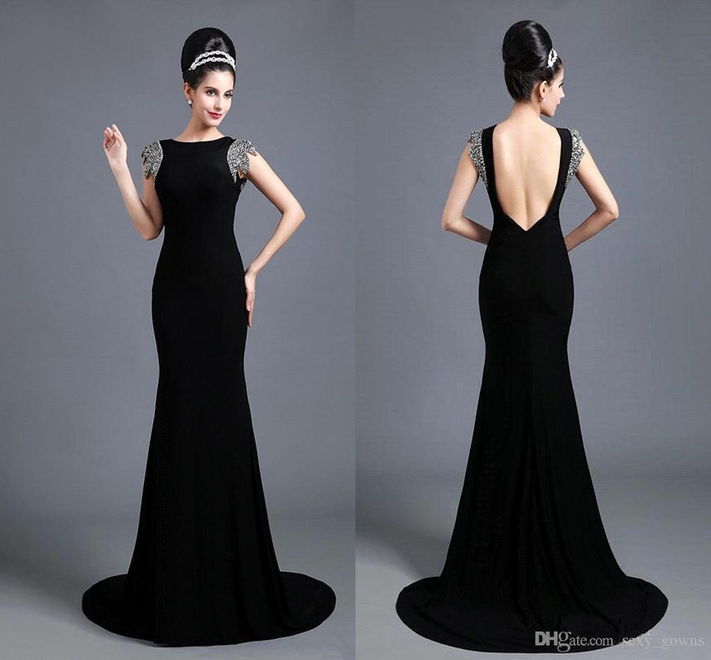 97908f822 Compre 2016 Vestidos De Noche Elegante Negro Cuello De La Joya ...