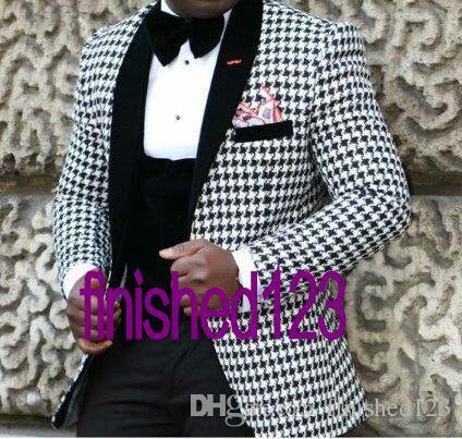 Yeni Stil Damat Smokin Groomsmen Şal Siyah Yaka Kaşmir Erkekler Blazer Ceket Erkekler Düğün Balo Suits Ceket + Pantolon + Yelek + Kravat K: 32