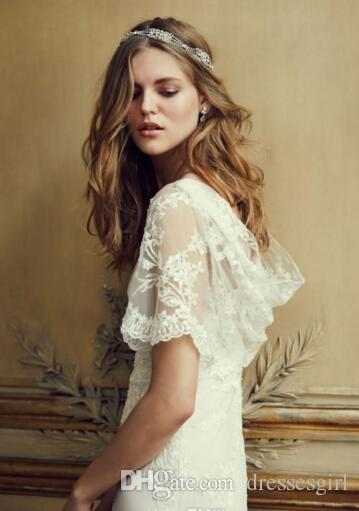 Summer Lace Wedding Dresses with Sleeves Bridal Gowns Cheap New Arrival Cowl Back Illusion Boatneck Column A Line Beach Wedding Gowns
