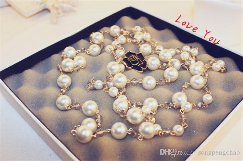 Crystal Beads Necklace & Pendant for Women Flower Charms Long Necklace Sweater Jewelry Korean Pearl Necklace Wedding Party Costume Bijoux