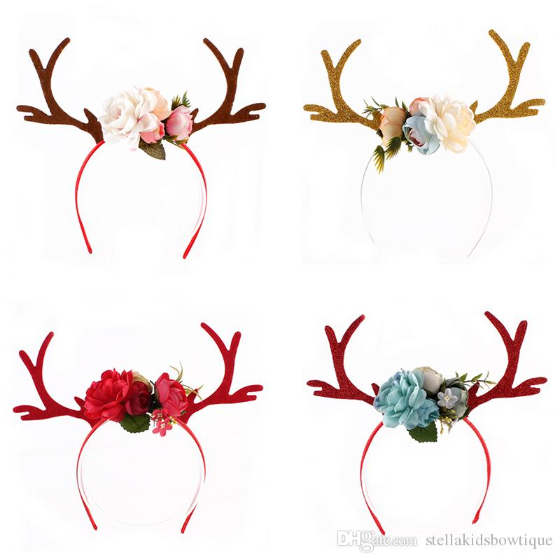 Hot Sales 2017 Christmas Sika Deer Baby Girls Accessories Headband Floral Numen Newborn Girls Hairband Accessories