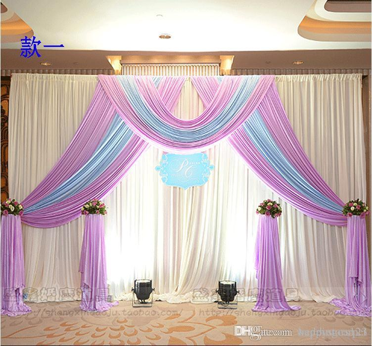 3m3m Ice Silk Wedding Backdrop Curtain With Swags Wedding Props