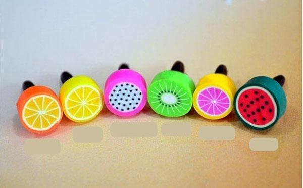 Wholesale Cute Fruit anti dust plug for iphone and 3.5mm earphone cap for mobile phone