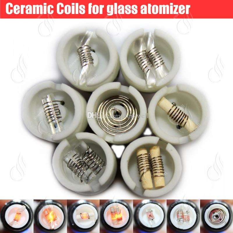 Quartz Ceramic Cotton replacement atomizer dual glass globe coils Donut wax dry herb Herbal vaporizers vape pen e cigarettes vapor core
