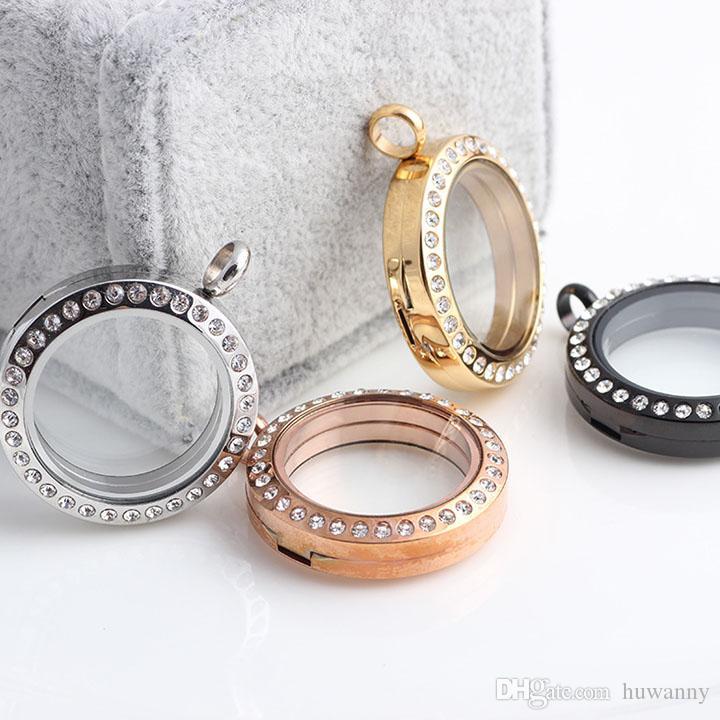 Top Grade 30mm 316 Stainless Steel Floating Locket Crystal Glass Frames Memory Floatings Charms Lockets Pendants Jewelry Wholesale 0072KLF